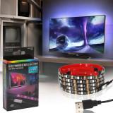Cumpara ieftin Kit Banda LED SMART1 TV 24-60 pentru Iluminare Ambientala Fundal RGB in Spatele Televizorului Backlight cu Mini Controller