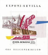 România, Lp 1294/1992, Exp. Mondială, Era descoperirilor, coliţă dantelată, MNH foto