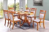 Set masa din MDF si furnir Damia Red Oak + 4 scaune Damia Red Oak + 2 scaune Victoria Red Oak, L150xl90xH77 cm