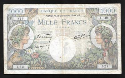 Franta 1000 francs 1940 foto
