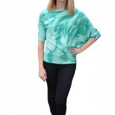 Bluza eleganta Mae cu design fashion,nuanat de turcoaz