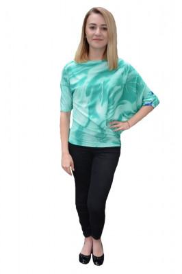 Bluza eleganta Mae cu design fashion,nuanat de turcoaz foto