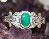 Inel argint 925 ANTIC ,  DELICAT CU MALACHIT  NATURAL, 57 - 67