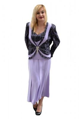 Costum de ocazie de culoare mov, cu fusta lunga, sacou si top foto