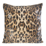 Set 2 perne decorative cu huse detasabile Gepard Maro / Negru, 45 x 45 cm
