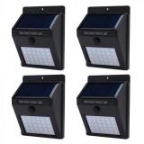 Set 4 lampi solare de perete 30 LED, cu senzor de miscare si senzor de lumina