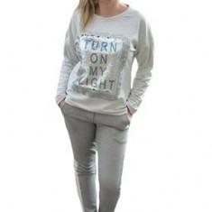 Pantalon chic de culoare gri deschis, design de dunga pe lateral