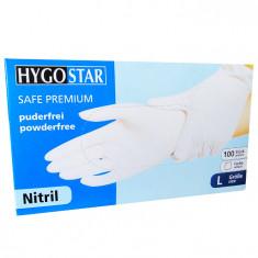 Manusi nitril Safe Premium marimea L, albe, 100 bucati/cutie, nepudrate