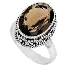 Inel bijuterie din argint 925 cu cuart fumuriu