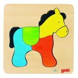 Puzzle Calut Goki, 15 x 15 x 0.8 cm, 4 piese, lemn, 3 ani+