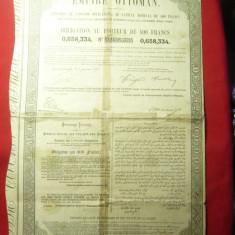 Obligatiune 400 Fr. a Imperiului Otoman 1870 cu reparatii