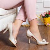 Pantofi Piele Rafida bej decupati