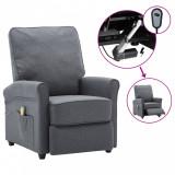Fotoliu de masaj rabatabil electric, gri închis, textil, vidaXL