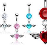 Cumpara ieftin Piercing pentru buric, cu zircon în formă de inimă cu aripi - Culoare Piercing: Aqua