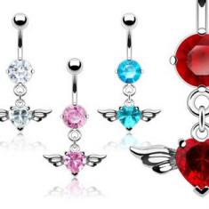 Piercing pentru buric, cu zircon în formă de inimă cu aripi - Culoare Piercing: Transparent