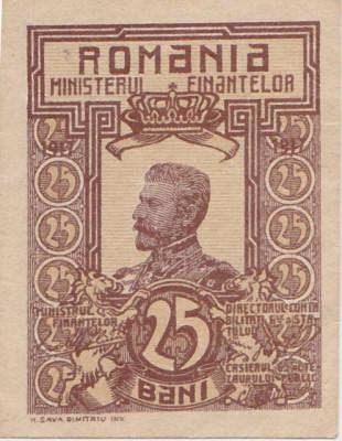 ROMANIA 25 BANI 1917 FERDINAND UNC STAMPILA GRECEASCA foto