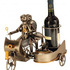 Suport modern de Sticle Vin NAGO model Motocicleta cu Atas Metal Lucios Maro Negru capacitate 1 Sticla H 27 cm