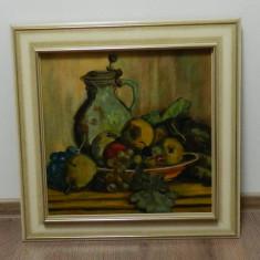 Pictura ulei panza / tablou semnat D. SCHUBERT din anul 1967, Natura statica, Impresionism
