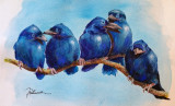 Acuarela 5 frati bruneti ( tablouri tablou picturi pictura decor )