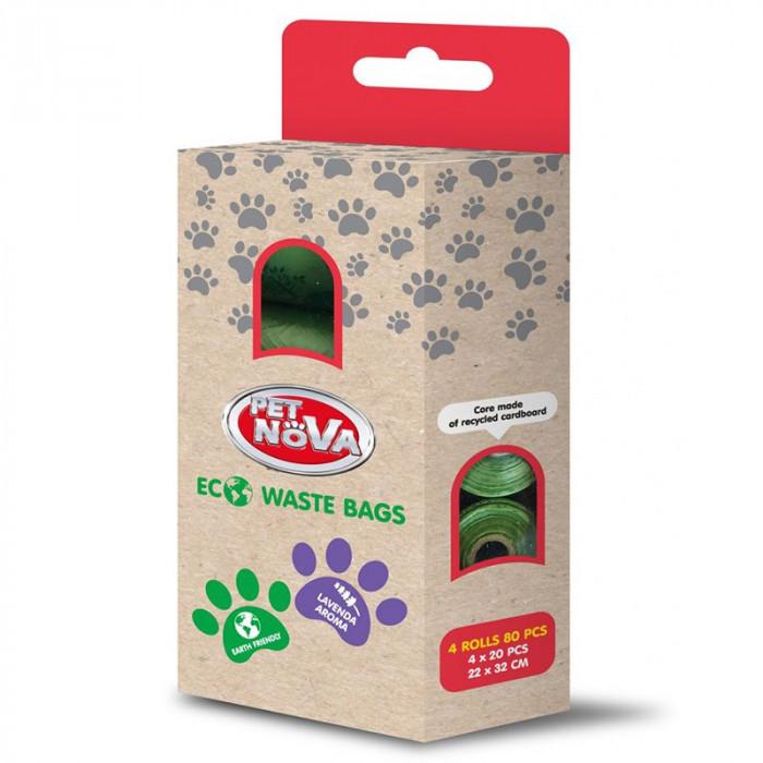 Sac de gunoi ecologic, lavandă 80 buc
