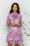 Cumpara ieftin Rochie Pretty Girl roz din voal cu print floral si guler tip esarfa