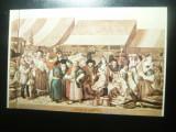 Ilustrata - Pictura de Fr.Neuhausser - Iarmaroc la Sibiu 1788 -Muzeul Brukenthal