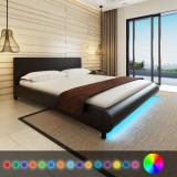 Pat cu saltea și LED, 180 x 200 cm, piele artificială, negru
