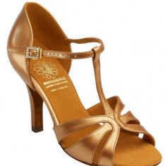 Pantofi dans, Supadance 1177, piele satinata, bronz inchis , toc 6 cm