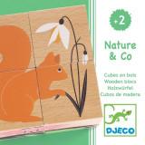 Set 4 cuburi din lemn, 6 puzzle-uri - Natura Djeco