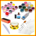 Kit Unghii FALSE Geluri uv Color Sclipici Glitter Pensule Unghii Buffer Tipsuri