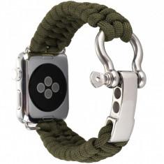 Cumpara ieftin Curea pentru Apple Watch 42 mm iUni Elastic Paracord Rugged Nylon Rope, Green