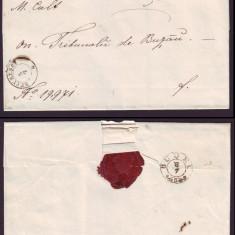 1863 Romania, Scrisoare veche BUCURESCI - BUZAU 1 stampila agrafa BUDEU, sigiliu