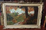 Peisaj de toamnă cu râu și munți cu piscurile înzăpezite (u/p, semnat, 78x54cm.), Natura, Ulei, Realism