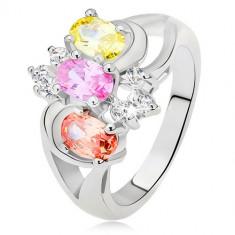 Inel - trei ştrasuri colorate, braţe bifurcate, linii rotunjite, zirconiu transparent - Marime inel: 57