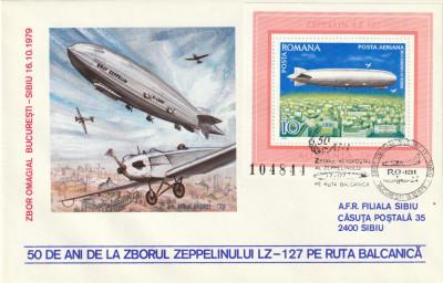 Romania 1979,Aviatie,Plic ocazional,ZEPPELIN , Zbor Omagial deasupra Balcanilor foto