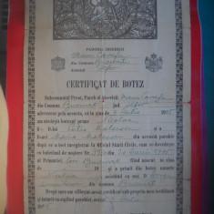 HOPCT DOCUMENT VECHI  NR 283 CERTIFICAT DE BOTEZ BUCURESTI 1905
