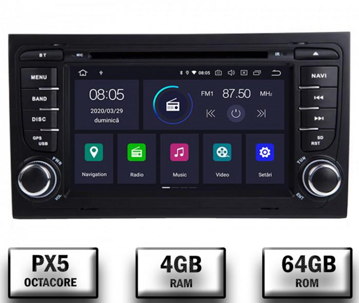 Navigatie Audi A4 (B6, B7), Android 10, Octacore PX5 4GB RAM + 64GB ROM cu DVD, 7 Inch - AD-BGWAUDIA4P5