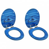 Scaune WC capac silențios, 2 buc., albastru, MDF, model stropi