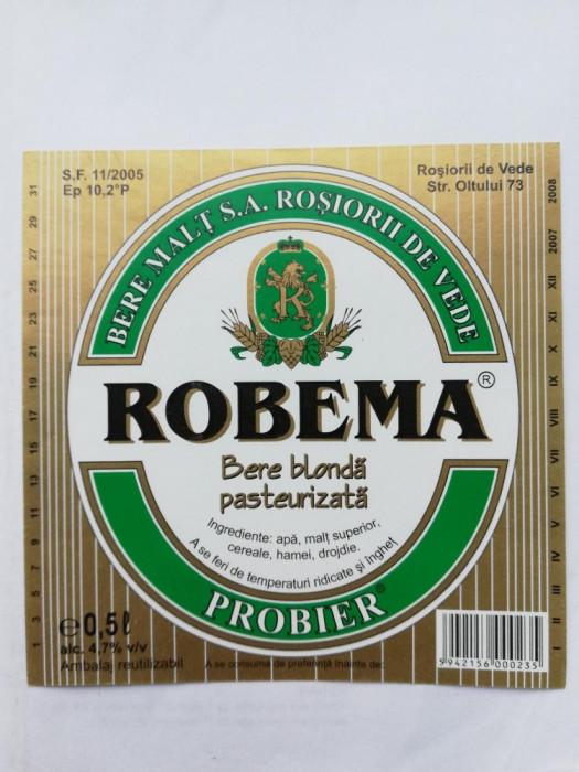 Eticheta bere - ROBEMA  2007-2008 - Rosiori de Vede  !