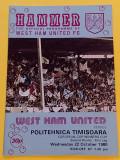 Program meci fotbal WEST HAM UNITED - POLITEHNICA TIMISOARA (22.10.1980)