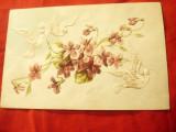 Ilustrata- Felicitare - Litografie cca.1900 Flori si Porumbei - in relief, Circulata, Printata