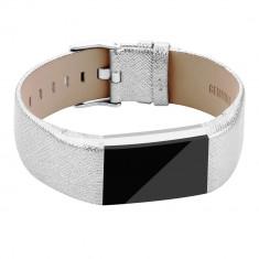 Curea FitBit Charge 2, din piele naturala, 20mm, argintiu