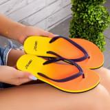 Papuci dama de plaja galbeni Jurisema
