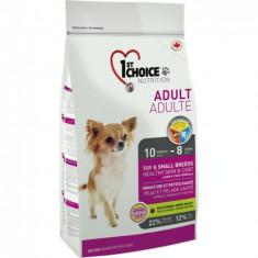 Hrana uscata pentru caini 1st Choice Skin & Coat, Talie mica & Toy, 7kg