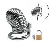 Centură de castitate cușcă penis din aliaj de aluminiu spiralată