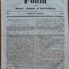 Foaia pentru minte , inima si literatura , nr. 6 , 1862 , Brasov , I. Muresanu