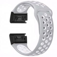 Curea ceas Smartwatch Garmin Fenix 5, 22 mm iUni Silicon Sport Gri-Alb