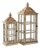 Set 2 felinare din lemn natur patinat metal si sticla 20 cm x 12 cm x 48 h; 26 cm x 19 cm x 63 h Elegant DecoLux, Bizzotto