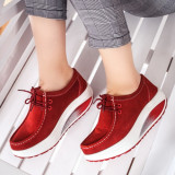 Pantofi dama casual Piele rosii Bunazi