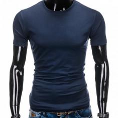 Tricou barbati, bleumarin simplu, slim fit, mulat pe corp, bumbac - S884